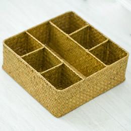 Handgewebter Seegras Rechteck Ablagekorb Gitterbox natürlichen Algen Ablagekorb mit 7 Grids Fabrik Großhandel Primärfarbe von Fabrikanten