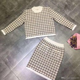 89d4d9ad2cd4 2019 New Crew Neck Long Sleeve Plaid Coat And For Womens Fashion And  Fishtail Skirts 2 Pieces Sets 12303
