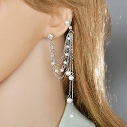 Brincos de pérolas de lustre vintage on-line-Pérola do vintage das mulheres gota multi-camada cadeia brincos retro longo borla brincos pendurados lustre de jóias brinco manguito
