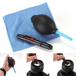2019 kits de limpeza de lentes de câmera 3 em 1 terno poeira limpador de limpeza da lente da câmera de limpeza da escova escova de ar limpa kit de pano para câmera DSLR VCR kits de limpeza de lentes de câmera barato