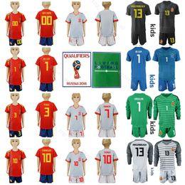 Spanien online-Spanien Jugend Fußball Jersey Sets Kinder 2019-2020 PIQUE BUSQUETS THIAGO DE GER CASILLAS Kinder Fußball Trikotsets Mit Kurzer Hose