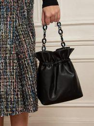 saco de drawstring de couro das senhoras Desconto Designer-Bolsas Drawstring Bucket Bag para as Mulheres Mini PU Leather Messenger Bandoleira Sacos Ladies Bolsas de Ombro mulher negra