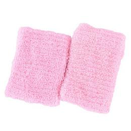 Muñequeras de tela online-Hombres Mujeres Deportes Sweatband Terry Cloth Muñequeras Bandas para Fitness Tenis Squash Bádminton Baloncesto Muñequera Wrist Wrap