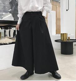 pantalones de hombre gótico Rebajas Los hombres de moda retro casual falda pantalón negro pantalones de pierna ancha estilo de japón punk gótico desgaste de la etapa suelta pantalones de harén