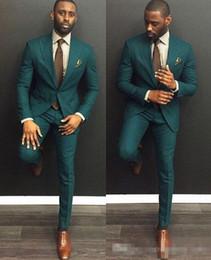 Vestito di affari verde di mens online-Tuta da uomo da uomo verde personalizzata slim fit 2019 (giacca + pantaloni) Tuta da uomo primaverile primavera calda Abiti da sposa sposo Ebelz personalizzato