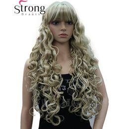 Длинный черный парик толщиной онлайн-Длинные толстые волнистые черные, коричневые, светлые парики с подсветкой синтетические парики женские