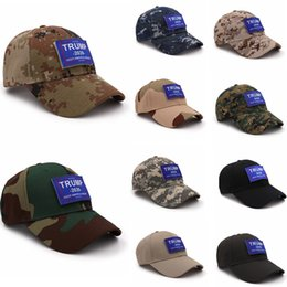 2019 pegatinas de camuflaje Gorra de béisbol Donald Trump 2020 al aire libre Make America Great Again Sombrero militar de camuflaje con etiqueta mágica loop AAA2209 pegatinas de camuflaje baratos