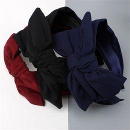 1b2f62ddbc7 Haimeikang Vintage Solid Stripe Rabbit Ear Wide Headband Hairband for Women  Girls Knot Hair Bands Headwear Hair Accessories