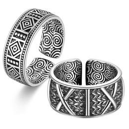 S999 Sterling Silver Retro Lord With The Retro Pattern X Coppia anello indice dito Uomini e donne Anello aperto da