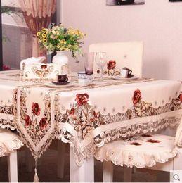 2019 tovaglia del fiore del ricamo # 220 Quadrato fiore ricamo tovaglia tovaglia cena tappetino Europa poliestere stuoia copertura della tabella all'ingrosso FG213 tovaglia del fiore del ricamo economici