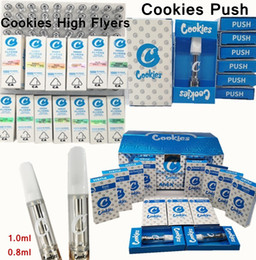 Druckstift online-Cookies Carts Vape Cartridges Überflieger Cookies Push Cartridge 0.8ml 1.0ml Keramikspule Vape Carts 2mm Leertank Vape Pens 510 Zerstäuber