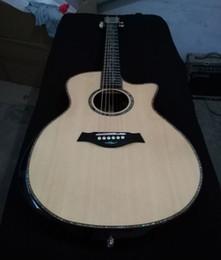 cuerdas de guitarra hechas a mano Rebajas Guitarra acústica de lujo de 41 pulgadas, tapa sólida de pícea, diapasón y puente de ébano, incrustaciones de abulón y guitarras purfling