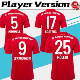 Версия игрока Лига чемпионов Бавария Мюнхен 2019 дома Мужчины Футбол Трикотажные изделия 1920 Красные футболки # 9 LEWANDOWSKI # 25 MULLER Футбольная форма от