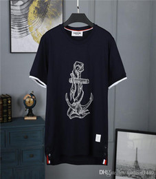Canada 2019 Eté Marque TB T Shirt Hommes Planches À Roulettes À Col En V Cou À Manches Courtes Hip Hop T-shirt Rayé Femmes Casual Sous-shirt Top Tees Thom Brown Offre