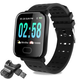 Assistir tela quadrada on-line-A6 Relógio De Fitness, IP67 À Prova D 'Água de 1.3 polegadas Touch Screen Quadrado Rastreador de Fitness A6 Relógio Inteligente com Pedômetro Heart Rate Pedômetro Passo Calorie
