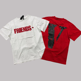 9122f9db2 19SS Vlone Fragment Design T-shirt Men Women Friends Print White Red T-shirts  Short Sleeve Couples Hip Hop Streetwear Tee CPI0103