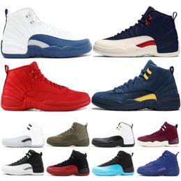 sports shoes 1ff1f 92e65 Bulls 12 XII Männer Basketball-Schuhe Gym Rot OVO FLU GAME Weiße Wolle  Dunkelgrau Günstige 12s Designer Herren Sport Sneakers Größe 40-47 wolle  mesh im ...