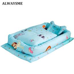 Cesta de dormir online-Alwaysme Kids Infant Co Sleeping Portable Bassinet Basket Travel Bed Bumper Baby Cuna Juegos de cama C19041901