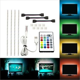 Tv rf remote on-line-5050 rgb usb led faixa de luz com 24 chave rf luzes da corda remoto tv backlight kit fita luz flexível à prova d 'água levou iluminação de tira