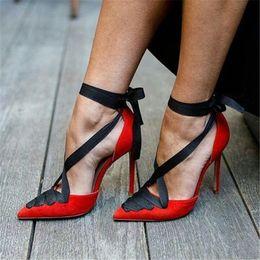 2019 новые сексуальные женщины насосы высокие каблуки женщина острым носом атлас кружева свадебное платье Красный острым носом партия Каблук 10 см 34-45 cheap red lace satin dresses от Поставщики красные атласные платья из кружева