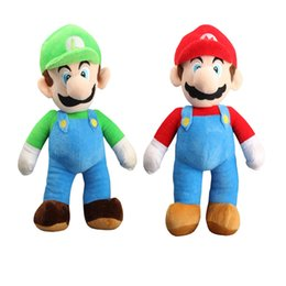 Brinquedos de super mario plush on-line-Super Mario Bros Mario E Luigi Macio Boneca de Brinquedo De Pelúcia Para As Crianças de Natal Do Dia Das Bruxas Melhores Presentes 23 CM