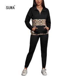 2020 fatos de treino de leopardo preto Casual Preto Leopard Patchwork pulôver Zip Top manga comprida Com o Pocket + Sport Calças Femme Treino Hot Sale 2 Piece Set desconto fatos de treino de leopardo preto