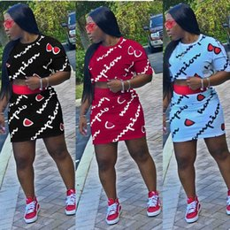 7b2db359108 marque jupes courtes Promotion Femmes champions lettre impression tenue  d été t-shirt à