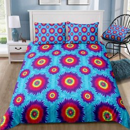 Dimensioni arcobaleno letto king online-Muticolor Bedding Set King Size Rainbow Soft Beautiful Duvet Cover Queen Blue Twin Full Single Double Bed Cover with Pillowcase