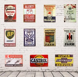 Carteles de chapa rústica online-Tin Signs Route 66 Castrol BP Shabby chic Vintage Metal Tin Signs Home Bar Pub Garage Gas Station Rustic Wall Plaque Decor