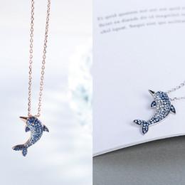 Strass rhinestone colar de pingente de golfinho on-line-Nova Prata bonito Big Dolphin cristal pingentes animal colar cheio de strass moda jóias para as mulheres Acessórios