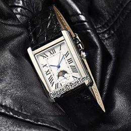 New Super Solo 31 millimetri cassa in acciaio quadrante bianco automatico Moon Phase Roma Mark Mens Watch nero Leahter orologi sportivi 9 colori Cool CART-B40a1 cheap cool black watches da freschi orologi neri fornitori