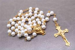 Rosário de cristal branco on-line-Religião Cristã, colar de rosário branco 6mm, colar de contas de cristal, cruz de Cristo colar