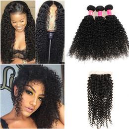 2019 trame de cheveux bohème Big Wave profonde Bundles de tissage de cheveux avec fermeture brésilienne profonde cheveux bouclés vierge et fermeture à lacet cheveux humides et ondulés Extens J63
