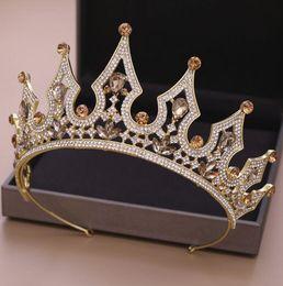 Corona de cristal dorado online-Cristales de lujo de la boda de la corona de plata del oro del Rhinestone princesa reina tiara pelo de la corona Accesorios alta calidad barata