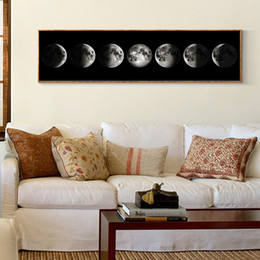 Arte lunga parete online-Eclipse of The Moon Poster Canvas Minimalista Art Painting Universo Wall Picture Long Banner Stampa Soggiorno camera da letto Decorazione