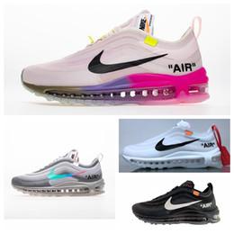 Nike Air Max 97 Con scatola Scarpe all ingrosso Uomo Donna OG Cuscino Triplo Oro bianco KPU Plastica 97 Scarpe da ginnastica economiche Scarpe da