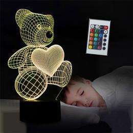 2019 führte nachtlicht tischlampe Neue Karikatur Liebe Herz Bär Form Tischlampe USB LED 7 Farben Schreibtischlampe 3D Lampe Nachtlicht Kind Weihnachtsgeschenk Spielzeug rabatt führte nachtlicht tischlampe