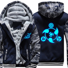 Синий пиджак косплей онлайн-2018 New Anime Luminous Blue NARUTO Akatsuki Clothing Thicken Jacket Cosplay Sweatshirts Hoodies USA Size