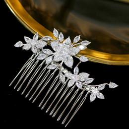 corona india de cristal Rebajas Accesorios para el cabello de flor de circonita de lujo tocado graduación accesorios para el cabello de la boda peine de oro peinado salón de belleza joyería hairpi