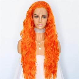 2020 maquillaje naranja Color natural de color naranja de 26 pulgadas de largo Onda natural del pelo Maquillaje diario Pelucas delanteras del cordón sintético de Halloween Mujeres pelucas del banquete de boda rebajas maquillaje naranja