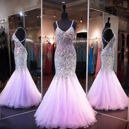 Cruz de lavanda online-Vestidos de baile de sirena de lujo Spaghetti Lavender Major Beading Criss Cross Back Vestidos de noche largos y formales Vestidos personalizados