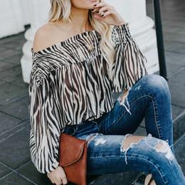 camicetta superiore delle donne coreane delle signore Sconti Top e camicette da donna estive Abiti 2019 Streetwear Camicetta a maniche lunghe Donna Off Sholder Top da donna Abbigliamento coreano