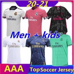 club america jersey azul Rebajas 2020 2021 Real Madrid Hombres + jerseys niños de fútbol 20 21 PELIGRO DE RAMOS BENZEMA RODRYGO camisetas de fútbol camiseta Kit Maillot Maglia Tops