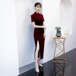 e9189e852a Sexy Velour Cheongsam 2018 Spring Traditional Chinese style Long Dress  Womens Mandarin Collar Qipao Slim Party Dresses Vestido
