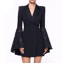 2019 le donne s più le blazers di formato Completo da donna Blazer maniche a campana in pizzo nero bianco con scollo a V doppio collo impreziosito da giacca a tunica formale Plus Size 3XL le donne s più le blazers di formato economici