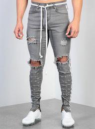 Jeans scarni di lavaggio grigio online-Mens jeans strappati grigi jeans aderenti fashion designer hi-street denim distressed pantaloni jogging lavato distrutto pantaloni slim fit l0023