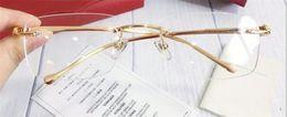 Очки марки Fahion Prescription 0063 без оправы 18Kgold оптические очки прозрачные линзы простой деловой стиль для мужчин cheap fahion glasses от Поставщики fahion glasses