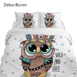 2019 pleno tamanho coruja cama Conjuntos de cama 3D para crianças de luxo, conjunto de cama Queen / King / Twin / Full size, capa de edredão dos desenhos animados para bebê / crianças / meninos, coruja pleno tamanho coruja cama barato