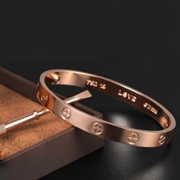 Conjunto de joyas 316l online-Diseñador de lujo clásico joyería para hombre pulseras 316L destornillador de acero inoxidable 18k brazalete de oro con caja original amor pulsera pulsera conjuntos de boda
