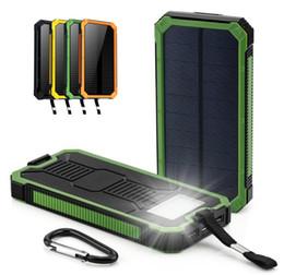 Cargador de teléfono con carga solar online-Universal 20000 mah Banco de energía solar a prueba de agua Carga de batería externa Cargador de teléfono portátil USB doble Powerbank para iPhone 8 XS max Xiaomi